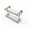 Allied Brass DT-2/16-GAL-SBR Dottingham 16 Inch Double Glass Shelf with Gallery Rail, Satin Brass