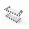 Allied Brass DT-2/16-GAL-SN Dottingham 16 Inch Double Glass Shelf with Gallery Rail, Satin Nickel