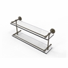 Allied Brass DT-2/22-GAL-ABR Dottingham 22 Inch Double Glass Shelf with Gallery Rail, Antique Brass