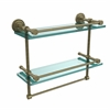 Allied Brass DT-2TB/16-GAL-ABR Dottingham 16 Inch Gallery Double Glass Shelf with Towel Bar, Antique Brass