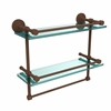 DT-2TB/16-GAL-ABZ Dottingham 16 Inch Gallery Double Glass Shelf with Towel Bar, Antique Bronze