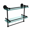 DT-2TB/16-GAL-BKM Dottingham 16 Inch Gallery Double Glass Shelf with Towel Bar, Matte Black