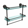 DT-2TB/16-GAL-ORB Dottingham 16 Inch Gallery Double Glass Shelf with Towel Bar, Oil Rubbed Bronze