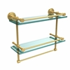 Allied Brass DT-2TB/16-GAL-PB Dottingham 16 Inch Gallery Double Glass Shelf with Towel Bar, Polished Brass