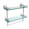 Allied Brass DT-2TB/16-GAL-PC Dottingham 16 Inch Gallery Double Glass Shelf with Towel Bar, Polished Chrome