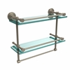 Allied Brass DT-2TB/16-GAL-PEW Dottingham 16 Inch Gallery Double Glass Shelf with Towel Bar, Antique Pewter