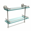 Allied Brass DT-2TB/16-GAL-PNI Dottingham 16 Inch Gallery Double Glass Shelf with Towel Bar, Polished Nickel
