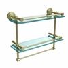 Allied Brass DT-2TB/16-GAL-SBR Dottingham 16 Inch Gallery Double Glass Shelf with Towel Bar, Satin Brass