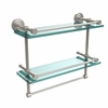 Allied Brass DT-2TB/16-GAL-SN Dottingham 16 Inch Gallery Double Glass Shelf with Towel Bar, Satin Nickel