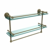 Allied Brass DT-2TB/22-GAL-ABR Dottingham 22 Inch Gallery Double Glass Shelf with Towel Bar, Antique Brass