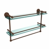 DT-2TB/22-GAL-ABZ Dottingham 22 Inch Gallery Double Glass Shelf with Towel Bar, Antique Bronze
