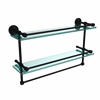 DT-2TB/22-GAL-BKM Dottingham 22 Inch Gallery Double Glass Shelf with Towel Bar, Matte Black