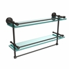 DT-2TB/22-GAL-ORB Dottingham 22 Inch Gallery Double Glass Shelf with Towel Bar, Oil Rubbed Bronze