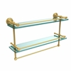 Allied Brass DT-2TB/22-GAL-PB Dottingham 22 Inch Gallery Double Glass Shelf with Towel Bar, Polished Brass