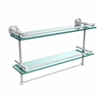 Allied Brass DT-2TB/22-GAL-PC Dottingham 22 Inch Gallery Double Glass Shelf with Towel Bar, Polished Chrome