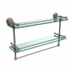 Allied Brass DT-2TB/22-GAL-PEW Dottingham 22 Inch Gallery Double Glass Shelf with Towel Bar, Antique Pewter