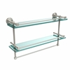 Allied Brass DT-2TB/22-GAL-PNI Dottingham 22 Inch Gallery Double Glass Shelf with Towel Bar, Polished Nickel