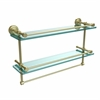 Allied Brass DT-2TB/22-GAL-SBR Dottingham 22 Inch Gallery Double Glass Shelf with Towel Bar, Satin Brass