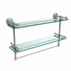 Allied Brass DT-2TB/22-GAL-SN Dottingham 22 Inch Gallery Double Glass Shelf with Towel Bar, Satin Nickel