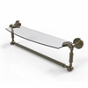 Allied Brass DT-33TB/18-ABR Dottingham 18 Inch  Glass Vanity Shelf  with Integrated Towel Bar, Antique Brass