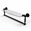 DT-33TB/18-BKM Dottingham 18 Inch Glass Vanity Shelf with Integrated Towel Bar, Matte Black