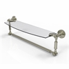 Allied Brass DT-33TB/18-PNI Dottingham 18 Inch  Glass Vanity Shelf  with Integrated Towel Bar, Polished Nickel