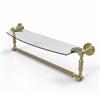 Allied Brass DT-33TB/18-SBR Dottingham 18 Inch  Glass Vanity Shelf  with Integrated Towel Bar, Satin Brass