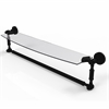 DT-33TB/24-BKM Dottingham 24 Inch Glass Vanity Shelf with Integrated Towel Bar, Matte Black