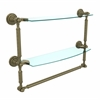 Allied Brass DT-34TB/18-ABR Dottingham Collection 18 Inch Two Tiered Glass Shelf with Integrated Towel Bar, Antique Brass