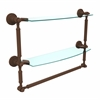 DT-34TB/18-ABZ Dottingham Collection 18 Inch Two Tiered Glass Shelf with Integrated Towel Bar, Antique Bronze