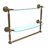 Allied Brass DT-34TB/18-BBR Dottingham Collection 18 Inch Two Tiered Glass Shelf with Integrated Towel Bar, Brushed Bronze