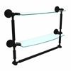 DT-34TB/18-BKM Dottingham Collection 18 Inch Two Tiered Glass Shelf with Integrated Towel Bar, Matte Black
