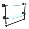 DT-34TB/18-ORB Dottingham Collection 18 Inch Two Tiered Glass Shelf with Integrated Towel Bar, Oil Rubbed Bronze
