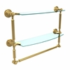 Allied Brass DT-34TB/18-UNL Dottingham Collection 18 Inch Two Tiered Glass Shelf with Integrated Towel Bar, Unlacquered Brass