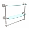 Allied Brass DT-34TB/18-PC Dottingham Collection 18 Inch Two Tiered Glass Shelf with Integrated Towel Bar, Polished Chrome