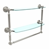 Allied Brass DT-34TB/18-PNI Dottingham Collection 18 Inch Two Tiered Glass Shelf with Integrated Towel Bar, Polished Nickel