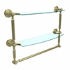 Allied Brass DT-34TB/18-SBR Dottingham Collection 18 Inch Two Tiered Glass Shelf with Integrated Towel Bar, Satin Brass