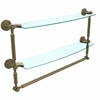 Allied Brass DT-34TB/24-ABR Dottingham Collection 24 Inch Two Tiered Glass Shelf with Integrated Towel Bar, Antique Brass