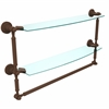 DT-34TB/24-ABZ Dottingham Collection 24 Inch Two Tiered Glass Shelf with Integrated Towel Bar, Antique Bronze