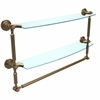 Allied Brass DT-34TB/24-BBR Dottingham Collection 24 Inch Two Tiered Glass Shelf with Integrated Towel Bar, Brushed Bronze
