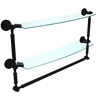 DT-34TB/24-BKM Dottingham Collection 24 Inch Two Tiered Glass Shelf with Integrated Towel Bar, Matte Black