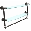DT-34TB/24-ORB Dottingham Collection 24 Inch Two Tiered Glass Shelf with Integrated Towel Bar, Oil Rubbed Bronze