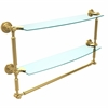 Allied Brass DT-34TB/24-PB Dottingham Collection 24 Inch Two Tiered Glass Shelf with Integrated Towel Bar, Polished Brass