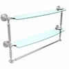Allied Brass DT-34TB/24-PC Dottingham Collection 24 Inch Two Tiered Glass Shelf with Integrated Towel Bar, Polished Chrome