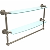 Allied Brass DT-34TB/24-PEW Dottingham Collection 24 Inch Two Tiered Glass Shelf with Integrated Towel Bar, Antique Pewter