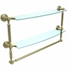 Allied Brass DT-34TB/24-SBR Dottingham Collection 24 Inch Two Tiered Glass Shelf with Integrated Towel Bar, Satin Brass