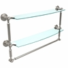 Allied Brass DT-34TB/24-SN Dottingham Collection 24 Inch Two Tiered Glass Shelf with Integrated Towel Bar, Satin Nickel