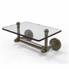 Allied Brass DT-GLT-24-ABR Dottingham Collection Two Post Toilet Tissue Holder with Glass Shelf, Antique Brass