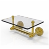 Allied Brass DT-GLT-24-UNL Dottingham Collection Two Post Toilet Tissue Holder with Glass Shelf, Unlacquered Brass