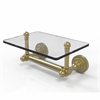 Allied Brass DT-GLT-24-SBR Dottingham Collection Two Post Toilet Tissue Holder with Glass Shelf, Satin Brass